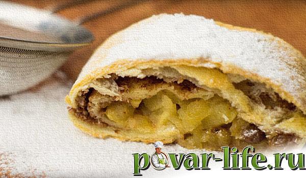 Рецепт яблочного штруделя в духовке.