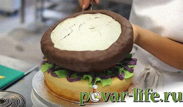 Украшение мастикой торта гамбургер