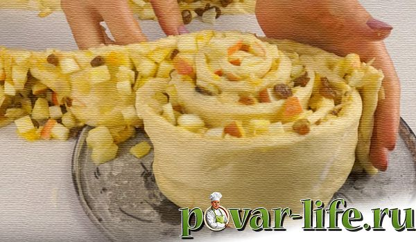 """Вкуснейший пирог с яблоками """"Улитка"""""""