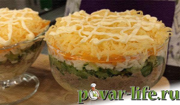 Рецепт нежного салата из печени трески