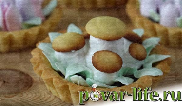 """Пирожные """"Корзиночки"""" с белковым кремом"""