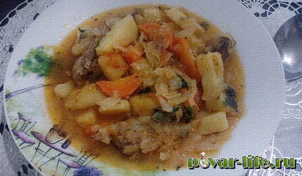Рагу овощное со свиными ребрышками