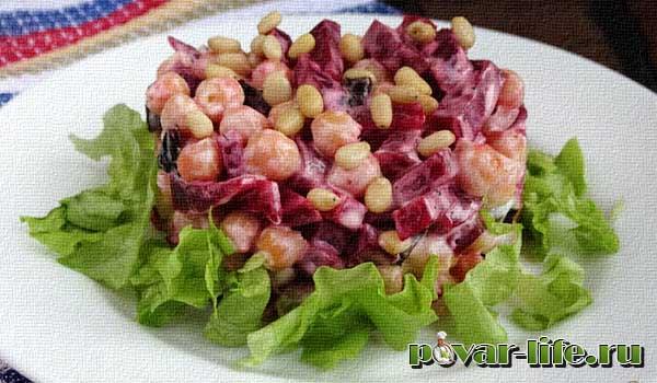 Рецепт салата из нута, манго и свеклы